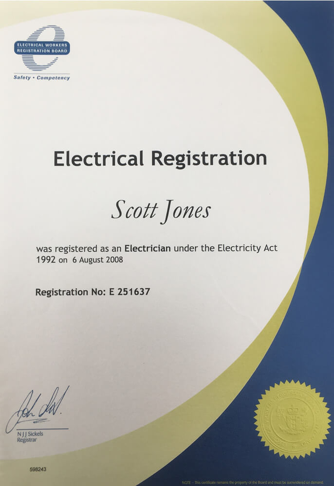 Electrical Registation Certificate Of Jones Electrical Services In Marlborough NZ