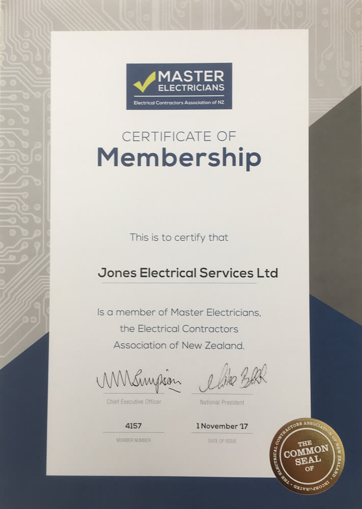 Master Electricians Membership Certificate Of Jones Electrical Services In Marlborough NZ
