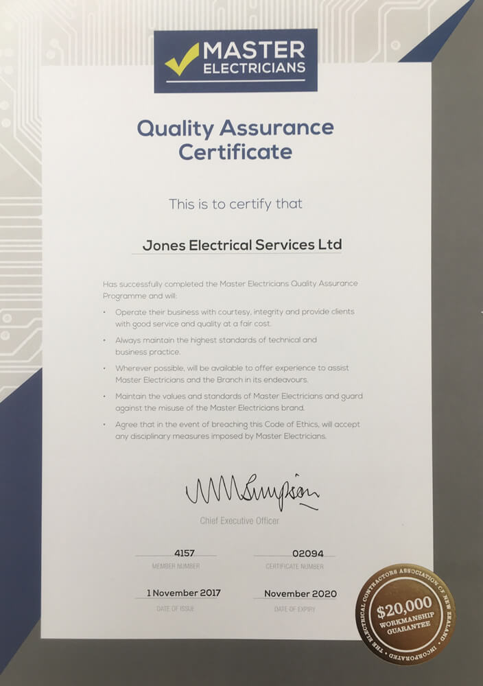 Master Electricians Quality Assurance Certificate Of Jones Electrical Services In Marlborough NZ
