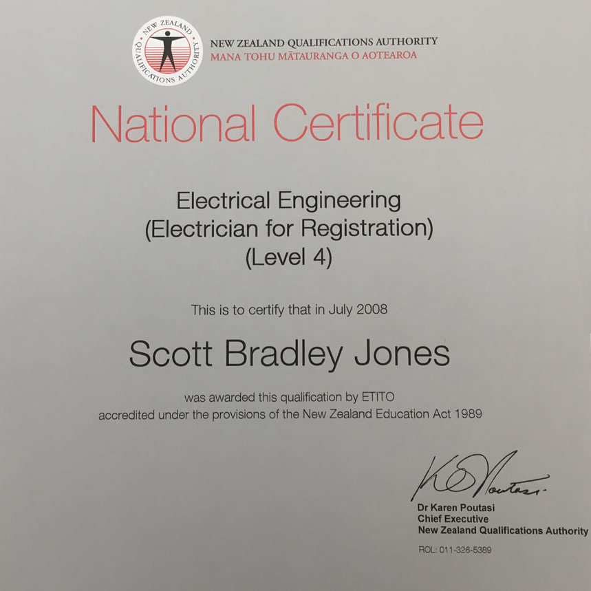 National Certificate Of Electrical Engineering Jones Electrical Services In Marlborough NZ